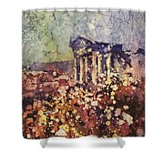 Fields Of Flower- And Roman Temple Shower Curtain
