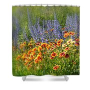 Fields Of Lavender And Orange Blanket Flowers Shower Curtain