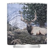 Fields Peak Elk Shower Curtain