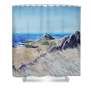 Fields With Rocks And Sea Shower Curtain