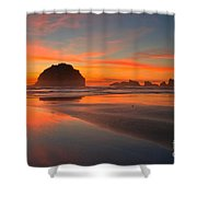 Fiery Bandon Beach Shower Curtain by Adam Jewell