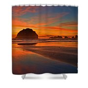 Fiery Ocean Stream Shower Curtain by Adam Jewell