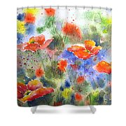 Fiery Poppies Shower Curtain