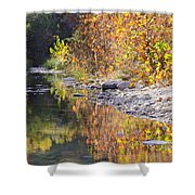 Fiery Reflection At Lost Maples Shower Curtain