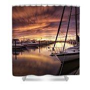 Fiery Sunset At Stuart Marina Shower Curtain