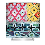 Fiesta 6- Colorful Pattern Painting Shower Curtain by Linda Woods