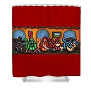 Fiesta Cats Or Gatos De Santa Fe Shower Curtain