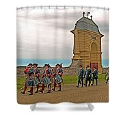 Fife And Drum Parade In Louisbourg Living History Museum-1744-ns Shower Curtain
