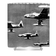 Fighter Jet Against Communists Shower Curtain