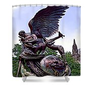 Fighting Angel Shower Curtain by Terry Reynoldson