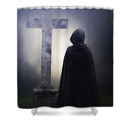 Figure On Graveyard Shower Curtain by Joana Kruse