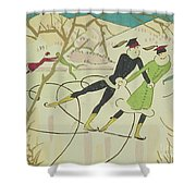 Figure Skating  Christmas Card Shower Curtain