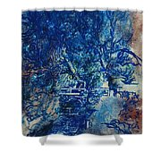 Figures On A Bridge Oil On Canvas Shower Curtain