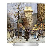 Figures On Le Boulevard St. Denis At Twilight Shower Curtain
