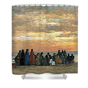 Figures On The Beach In Trouville Shower Curtain