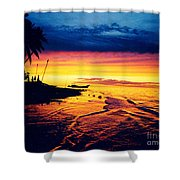 Fiji Paradise Sunset Shower Curtain