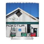 Filling Station, Mokotua, The Catlins Shower Curtain