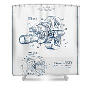 Film Camera Patent Drawing From 1938 - Blue Ink Shower Curtain