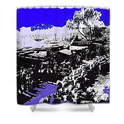 Film Homage Arizona 1940 Publicity Photo Cattle Drive Main Street Old Tucson 1940-2008 Color Added Shower Curtain