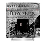 Film Homage Butch Cassidy 1969 Russell And Sheldon Bicycles C.1895 Tucson Arizona 2008 Shower Curtain