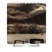 Film Homage End Of The Road 1970 Bisected Car Ghost Town Dos Cabezos Arizona 1967-2008 Shower Curtain