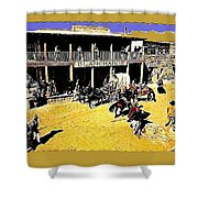 Film Homage Extras Unknown Production Old Tucson Arizona Color Added Shower Curtain