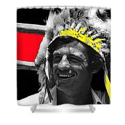 Film Homage Jean-paul Belmondo  Fake Indian Bonnet Love Is A Funny Thing  Old Tucson Az 1969-2008 Shower Curtain
