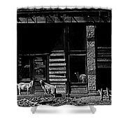 Film Homage King Vidor   Billy The Kid 1930 Wild Goats Ghost Town Billy The Kid Haunt White Oaks Nm  Shower Curtain