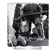 Film Homage Tearing Down The Spanish Flag 1898 Veteran's Day Parade 1984 Armory Park Tucson Shower Curtain