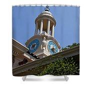 Filoli Garden Clock Tower Shower Curtain