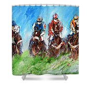 Final Fence Painting Shower Curtain