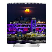 Final Moon Over The Pier Shower Curtain