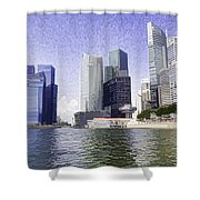 Financial District Of Singapore And View Of The Water Shower Curtain