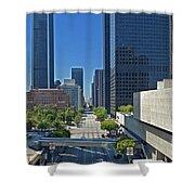 Financial District S. Flower Street Los Angeles Ca Shower Curtain by David Zanzinger