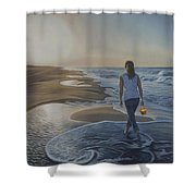 Finding Her Treasure Shower Curtain