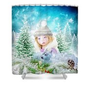 Finding Santa Shower Curtain by Mo T