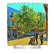Fine Day For Baby Strollers And Bikes Art Of Montreal Street Scene Across Maitre Gourmet Cafe Shower Curtain