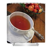 Fine Tea And Cherries Shower Curtain