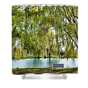 Finger Lakes Weeping Willows Shower Curtain