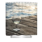 Finger Lakes Wine Tasting - Wine Glass On The Dock Shower Curtain