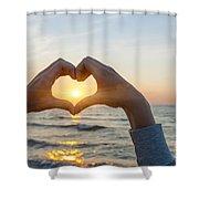 Fingers Heart Framing Ocean Sunset Shower Curtain
