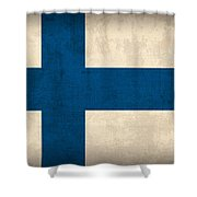 Finland Flag Vintage Distressed Finish Shower Curtain