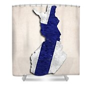 Finland Map Art With Flag Design Shower Curtain