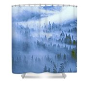 Fir Trees Shrouded In Fog In Yosemite Valley Shower Curtain