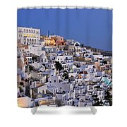 Fira Town During Dusk Time Shower Curtain