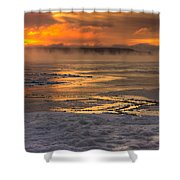 Fire And Ice Cropped Shower Curtain