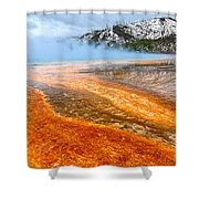 Fire And Ice - Grand Prismatic Spring On A Cloudy Day. Shower Curtain