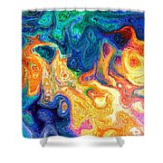 Fire And Water Abstract Art Shower Curtain
