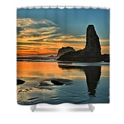 Fire At Low Tide Shower Curtain