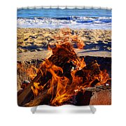 Fire At The Beach Shower Curtain